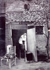 Wassende vrouw gezien door een open deur
