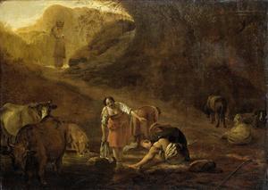 Herder en wasvrouwen bij een bron