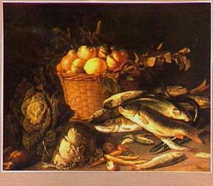 Stilleven met vis, groente en vruchten
