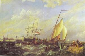 Een zwaarschip aanmerend bij ruw weer; in de achtergrond een grote stad met velerlei zeilschepen