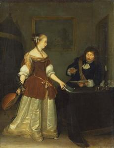 Vrouw met luit en een zingende man