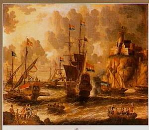 Begroeting van schepen in een haven met een fort