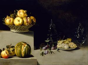 Stilleven met vruchten en glaswerk