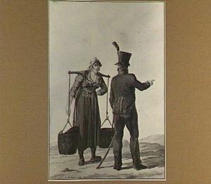 Marktvrouw met juk en soldaat