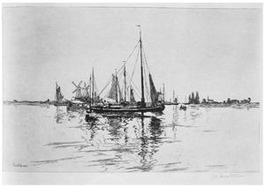 Boten op de rivier de Maas