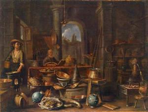 Alchemist met een assistent in zijn werkplaats