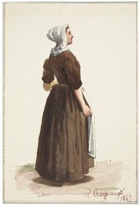 Staande vrouw met schort