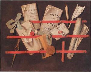 Trompe-l'oeil van een brievenbord met schrijfgerei, documenten, een kam en een penning