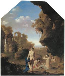 Landschap met badende nimfen en ruïnes