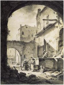 Italiaanse binnenplaats met figuren bij een put