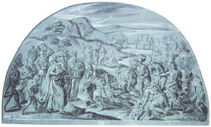 De ontmoeting van  Abram [Abraham]en Melchisedek, de hogepriester-koning van Salem  (Genesis 14:18-24)