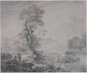 Landschap met reizigers in huifkar een rivier overstekend