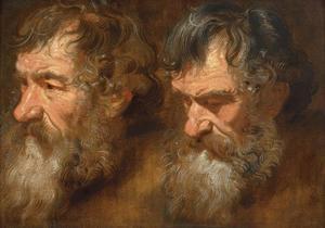 Twee studiekoppen van oude mannen