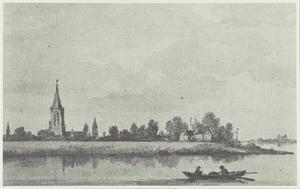 Gezicht op Gorinchem en kasteel Loevestijn op de achtergrond