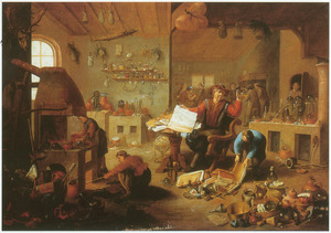 Alchemist met assistenten in een werkplaats