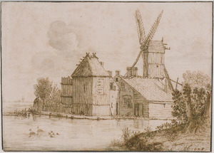 Boerderij met molen bij een vijver