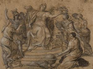 Allegorie met Minerva, Astronomia, Geometria, Pictura, Fama