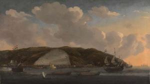 Gezicht op de stad Algiers met De Ruyter's schip 'De Liefde', 1662