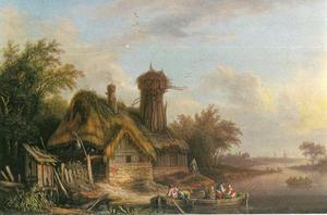 Boerderij aan het water met vissers in een roeiboot