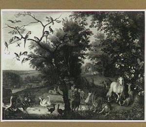 Het paradijs. Links in de achtergrond de schepping van Eva  (Genesis 2)