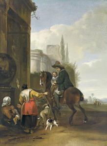 Ruiter met kind halthoudend bij enkele vrouwen voor een Romeinse ruïne