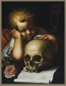 Putto met schedel: allegorie op de kortstondigheid van het menselijk leven