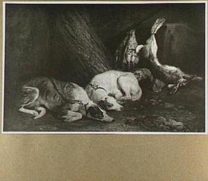 Twee slapende honden onder een boom naast buit van haas en gevogelte