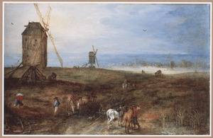 Heuvelig landschap met windmolens en reizigers rustend en onderweg