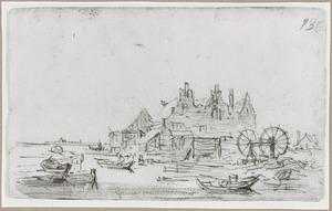 Huis met drie trapgevels aan het water met rechts een overhaal