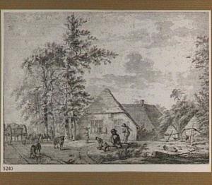 Landschap met boerderij en vee