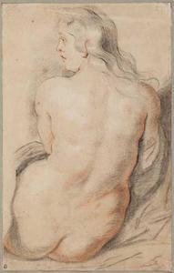 Studie van een vrouwelijk naakt op de rug gezien
