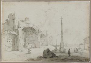 Fantasiegezicht met de Basilica van Constantijn te Rome