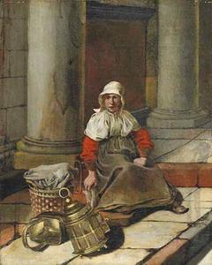 Vrouw met een mand en koperen vaatwerk in een zuilengalerij