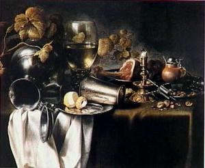 Stilleven met eet- en drinkgerei en een gedoofde kaars
