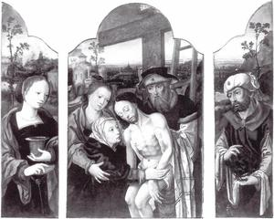 Maria Magdalena (binnenzijde linkerluik), de Kruisafneming (middenpaneel), Jozef van Arimathea (binnenzijde rechterluik)