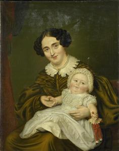 Dubbelportret van een vrouw, waarschijnlijk Johanna Gesiena van Demmeltraadt (1804-1878) en haar zoon of dochter