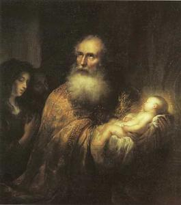 Simeon zingt zijn 'Nunc Dimittis' in de tempel met het Christuskind in zijn armen