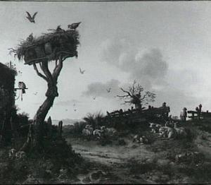 Landschap met een duiventil en rustende schapen