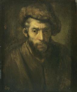 Borststuk van een man met bontmuts