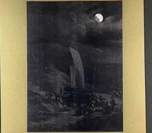 Strandgezicht bij volle maan