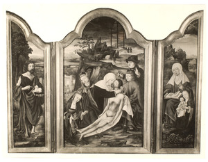 Drieluik met de bewening (middenpaneel), de H. Johannes de Doper (linkerluik), de H. Anna-te-Drieën (rechterluik) en de annunciatie (buitenzijde)