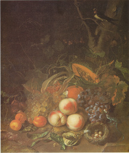 Stilleven van vruchten, met insecten en een vogelnest onder een boom