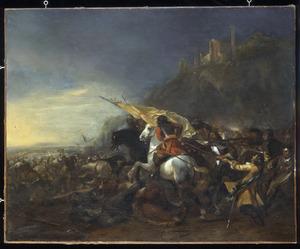 Ruitergevecht aan de voet van een berg