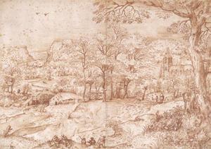 Bergachtig landschap met een kerk en een watermolen