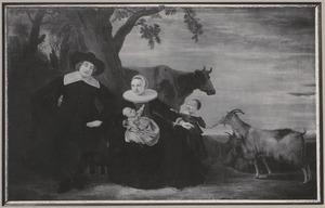 Portret van een echtpaar genaamd Jacob Dircksz. de Roy (1601-1659) en Marritge Bonte (....-1667) met twee kinderen