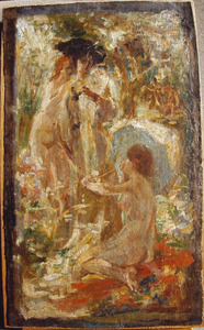 Staande vrouw met twee nimfen in een bos