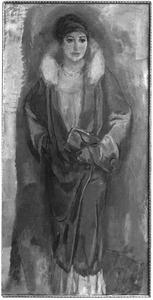 Portret van Greet Sluijters-Van Cooten (1885-1967), in mantel met bontkraag