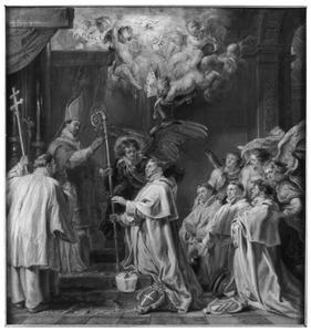 De aartsengel Michael staat de zalige Waltmann van Kamerijk bij, die door de H. Norbertus tot abt wordt gewijd
