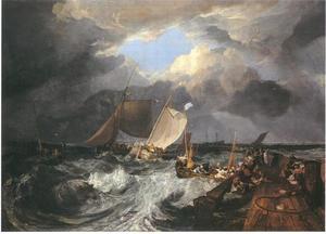 Pier van Calais, met Franse visserschepen die zich voorbereiden zeewaarts te gaan: een Engelse pakketboot komt aan