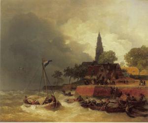 Haven in Holland bij storm